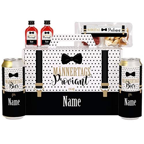 Lustapotheke Männertagsgeschenk Männertagsproviant im Koffer mit Krombacher Pils, Snackwurst und Schnäpschen personalisiert mit Namen