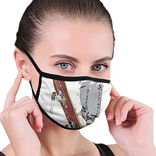 Comfortable Windproof mask,Skateboard With Boy Feet In The Sneakers And Jeans Illustration Adults