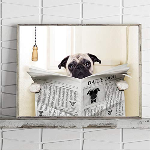 MMLUCK Leinwand dekorative Malerei Mops Hund Auf Toilette und Lesen Magazin Eine Pause Lustige Leinwand Poster Badezimmer Wc Wandkunst Dekor Leinwand Malerei-50x70cm