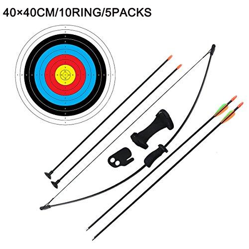 Outdoor-Shooter Recurve Pfeil und Bogen Spiel für Jugendliche, Schießtraining Spielzeug für Kinder Ausrüstung Spiel Geschenk für Jungen 16lb (4 Pfeile und 5 × Ziel Faces)