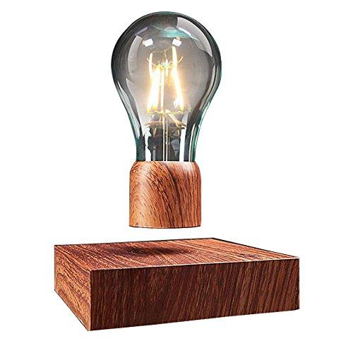 VGAzer schwebende LED-Tischleuchte mit Touch-Taste magnetische in edler Holz-Optik drahtlose LED-Glühbirne Dekoleuchte mit Magnettechnologie Geschenkideen Nachtlicht für Raumdekoration Heimdekoration
