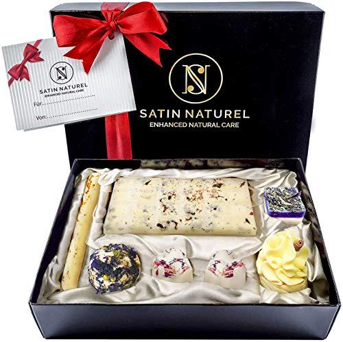 Bio Badepralinen 7er Geschenkset - Ideale Geschenk Idee für die Frau - Höchste Qualität von SatinNaturel - Vegane Badekugeln in hochwertiger Geschenkbox mit Satin Ausbettung + Schleife