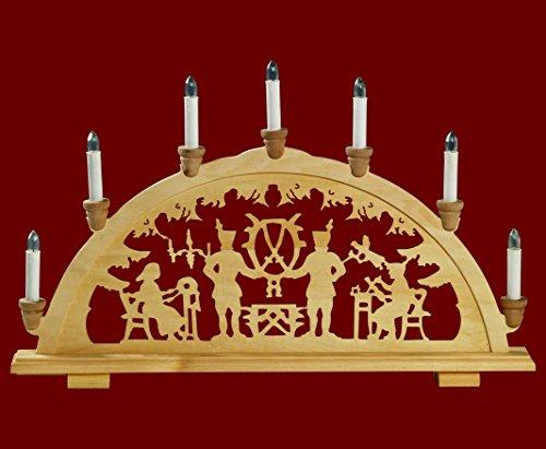 yanka-style Schwibbogen Lichterbogen Leuchter Bergleute traditionelles Motiv 7flammig Weihnachten Advent Geschenk Dekoration (83141-36)