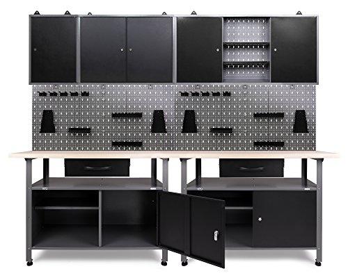 Ondis24 Werkstatteinrichtung Klaus, 7-teilig, Metall, TÜV geprüft, 3 Werkstattschränke, Lochwand, Hakensortiment (Arbeitshöhe 85 cm, Schwarz)