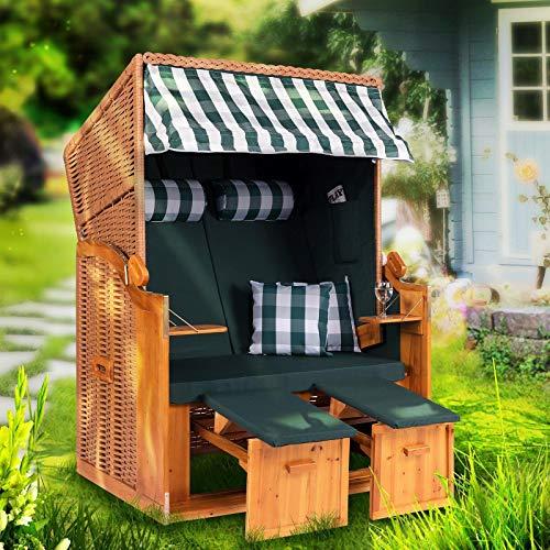 Strandkorb Ostsee XXL Volllieger 2 Sitzer - 120 cm breit - grün weiß inklusive Schutzhülle, ideal für Garten und Terrasse