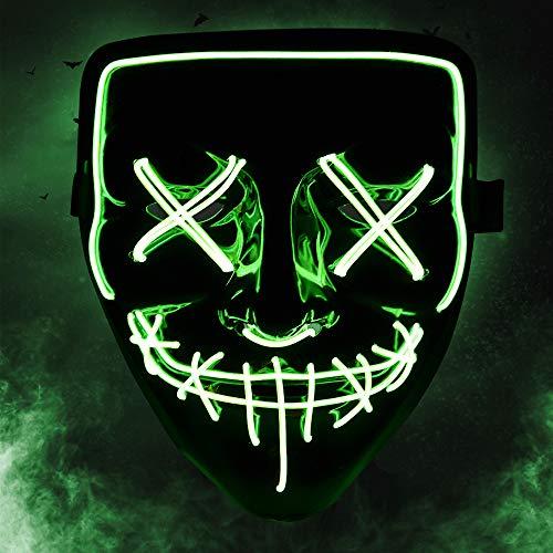 KOROSTRO Halloween Maske LED, Light EL Wire Cosplay Maske mit 3 Blitzmodi für Halloween Fashing Karneval Party Kostüm Cosplay Erwachsene Masken Batterie Angetrieben(Nicht Enthalten) (Grün)