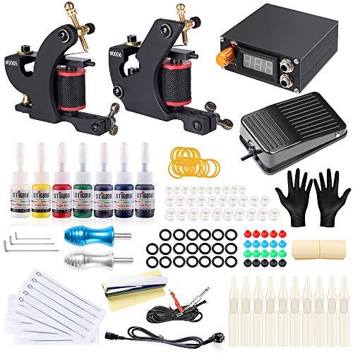 Stigma Tattoo Maschine Set 2 Tätowiermaschine 7er Tinten 2 Griff 20 Nadelspitze 20 Nadeln Tattoo-Set Digital Netzteil Pedal TK-ST203