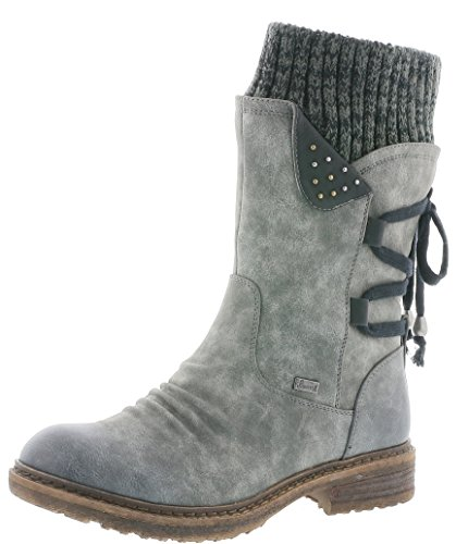 Rieker 94773 Damen Stiefel, Stiefelette, Schlupfstiefel, Boot, Slip-On Boot, Warmfutter, Tex, elastischer Strickkragen grau Kombi (Smoke/schwarz/Black-Grey / 45), EU 38