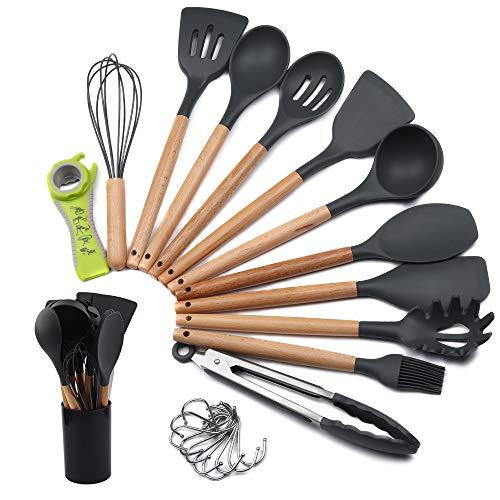mreechan Silikon-Kochgeschirr, hitzebeständiges Küchenset, Antihaft-Pfanne leicht zu reinigen/Bisphenol A für Töpfe und Pfannen (23 Stücke)
