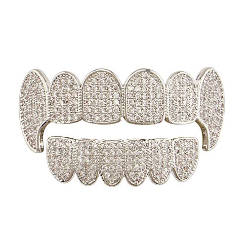 Yhjkvl-AC Teeth Grills Vergoldet Alle Iced Out Strass Hip Hop Grillkappen Top & Bottom Set (Farbe : Silber)