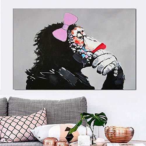 syssyj Leinwandmalerei Dekorative Gemälde Großes Tierbild Leinwand Gedruckte Malerei Moderner lustiger denkender AFFE mit Kopfhörer-Wandkunst-Plakat für Wohnzimmer-Dekor