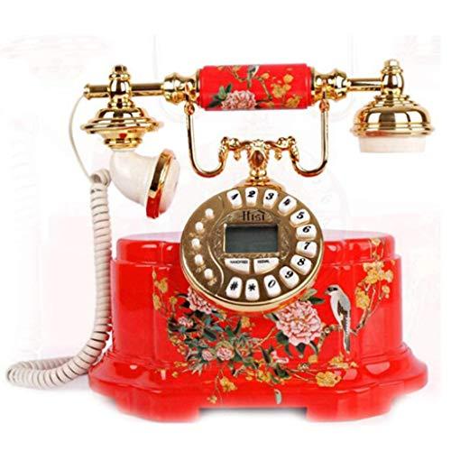 GONGFF Telefon-Antik Telefon Massivholz geschnitzt Festnetz Dekoration Festnetz Hochzeit kreative Geschenke Willkommen