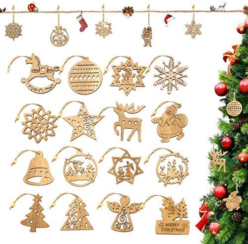 O-Kinee Weihnachtsbaumschmuck Holz, 16 Stück Christbaumschmuck Mit Hanfseil und beweglichen Holzperlen, 7.5cm