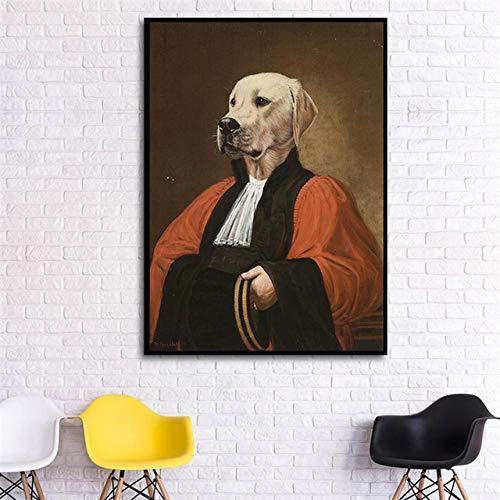 w15Y8 Nordic Vintage Leinwand Malerei, Hund trägt einen Hut Kleidung, lustige Tiere, Wohnzimmer Wand Künstler Dekoration/I 60X90cm