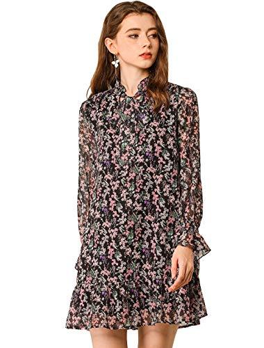 Allegra K Damen Langarm Schleife Ruffle Blumen Minikleid Kleid Schwarz XL