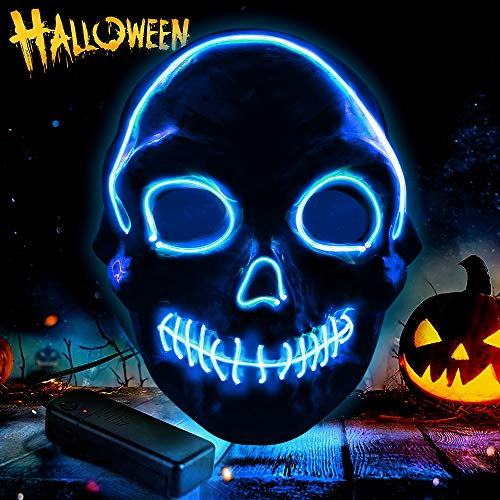omitium Halloween Maske , 3 Blitzmodi Cosplay Maske harmlos LED Purge Maske blinkende Maske EL Wire Grimasse Maske Karneval Maske für Halloween, Karneval, Party, Kostüm Cosplay - Blau