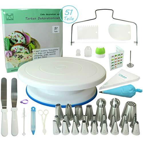 Wenburg Tortenplatte Drehbar Spritztüllen. Tortendeko Set mit viel Zubehör. Torten Drehteller/Tortenständer 28 cm in weiß/blau