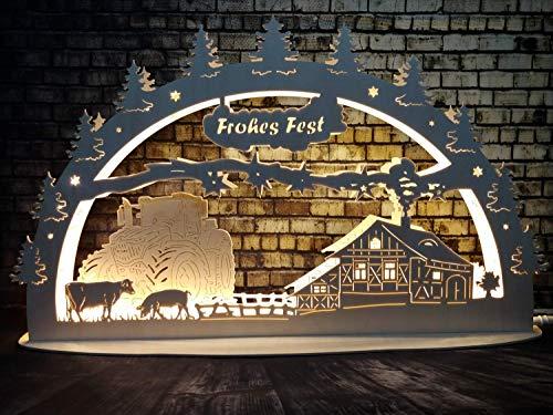 LED Lichtbogen Bauernhof weihnachtlich - Thüringische Qualität Lichterbogen Schwibbogen