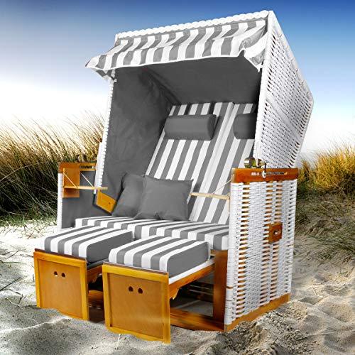 BRAST Strandkorb Nordsee XXL Volllieger Grau Weiß gestreift incl. Schutzhülle 2 Sitzer 120cm breit Gartenliege Sonneninsel Poly-Rattan