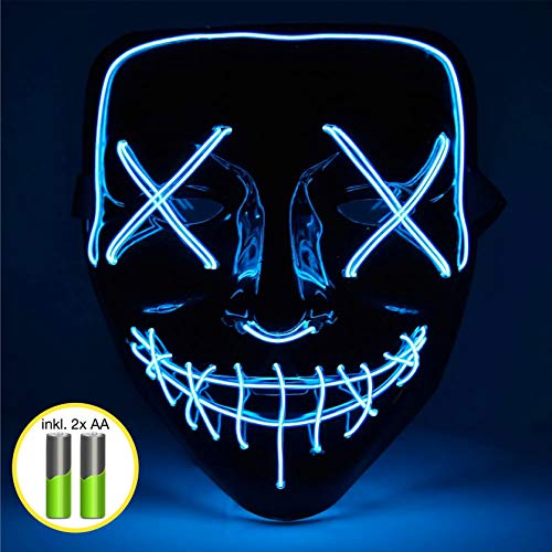 TK Gruppe Timo Klingler LED Grusel Maske blau - wie aus Purge inkl. Batterien mit 3X Lichteffekten, steuerbar, für Halloween als Kostüm für Herren & Damen (blau)