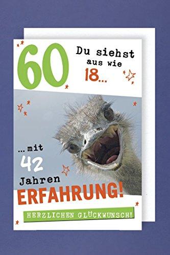 Geburtstag 60 Grußkarte AvanFun Tiermotive Lachender Strauß 16x11cm