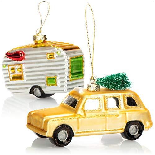 com-four® 2X Hochwertiger Christbaumschmuck - Auto und Wohnwagen aus echtem Glas für die Weihnachtsdeko - Weihnachtsbaum Anhänger (2 Stück - Auto. Wohnwagen)