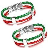Aroncent Italien Flagge Armband Lederarmband Kordelarmband Fanartikel Fussball Weltmeisterschaft WM & EM Europameisterschaft 2017 Länder Style geflochten
