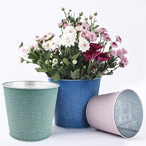 Blumentopf 6 Stück, Blumentöpfe Set, Pflanzenkorb, Metallbehälter mit Retro Blumenmuster für saftige Pflanzen unterschiedlicher Größe, 3 Größen und 2 Farben
