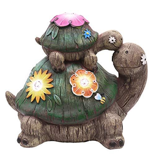 TERESA'S COLLECTIONS Schildkröte Gartenfiguren LED Solarlampe Gartendekoration aus Kunstharz 17cm Wasserfest Tier Figur Gartendeko Frühling Deko für Außen Fairy Garden MEHRWEG Verpackung