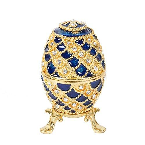 Qifu handbemaltes Ei im Faberge-Stil, emailliert, dekoratives, aufklappbares Schmuckkästchen, einzigartiges Geschenk für Wohndeko