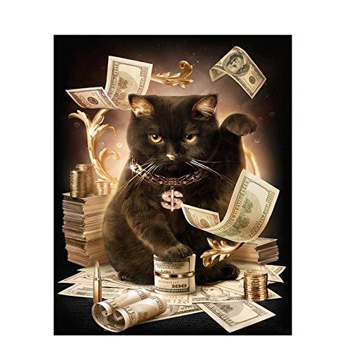XIXISA Glückliche Katze mit MoneyX Handgemachte Farbe Hochwertige Leinwand Schöne Malerei Nach Zahlen Überraschungsgeschenk Große Leistung 40x50cm Ungerahmt