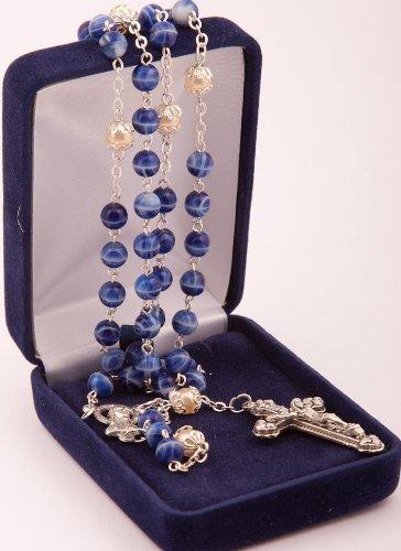 Rosenkranz.Blauem Glas Rosenkränze Marmor Stil mit Perlmutt Perlen Paters in Geschenkbox