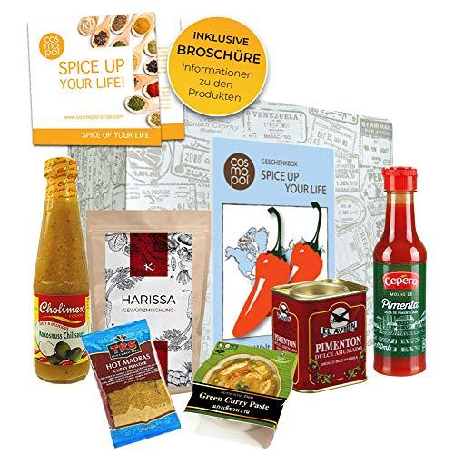 Scharf Essen Geschenk Box'Spice up your life' | Scharfe Sauce Scharfes Gewürz Chili uvm | Scharfes Geschenk für Männer Gewürz Geschenkset für Frauen