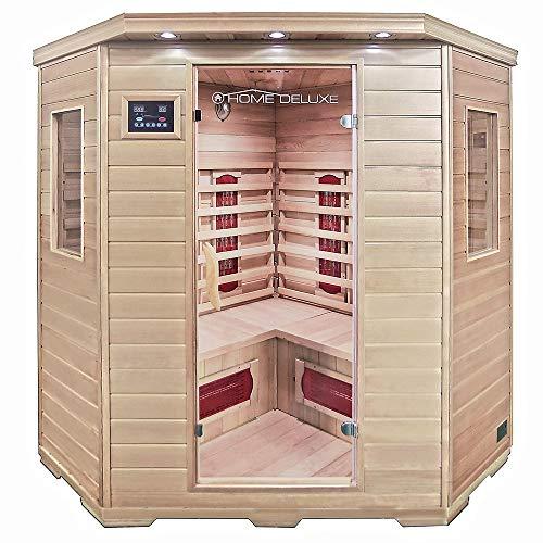 Home Deluxe – Infrarotkabine Redsun XXL – Keramikstrahler, Holz: Hemlocktanne, Maße: 150 x 150 x 190 cm   Infrarotsauna für 3-4 Personen, Sauna, Infrarot, Kabine