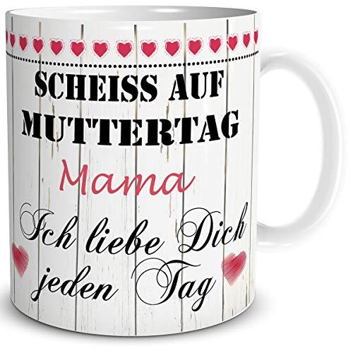 TRIOSK Tasse Mama mit Spruch lustig Scheiß auf Muttertag Mama Ich Liebe Dich Geschenk für Beste Mutter Geburtstag Muttertagsgeschenk