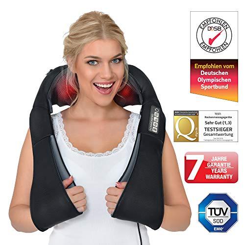 Nackenmassagegerät DAS ORIGINAL Donnerberg München Shiatsu Massagegerät Nacken Schulter Massage + effektive VIBRATION 4D Nackenmassagegerät mit Wärme TÜV 7 Jahre Garantie