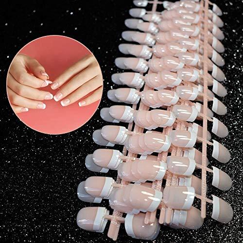Falsche Nägel, 240 Stück 12 verschiedene Größen Natürliche französische Nail Sticker Tattoo, Künstliche Fingernägel False Nail Tips,French Style ABS Fake Nails