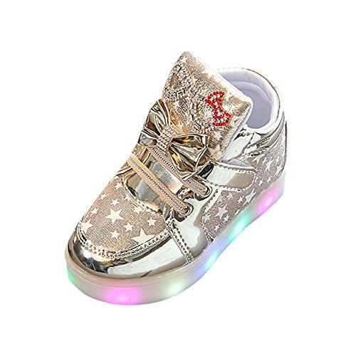Robemon Kinder Kinder Mädchen Star Bowknot Kristall Mesh LED Licht Sneaker Schuhe Gr. 2.5- 3 Jahre, Gold.