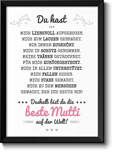 Beste Mama Bild im schwarzem Holz-Rahmen Geschenkidee Geschenke für Frauen Mama zum Muttertag Geburtstag