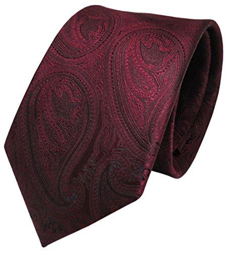 TigerTie Designer Krawatte in rot weinrot schwarz paisley gemustert - Tie Schlips