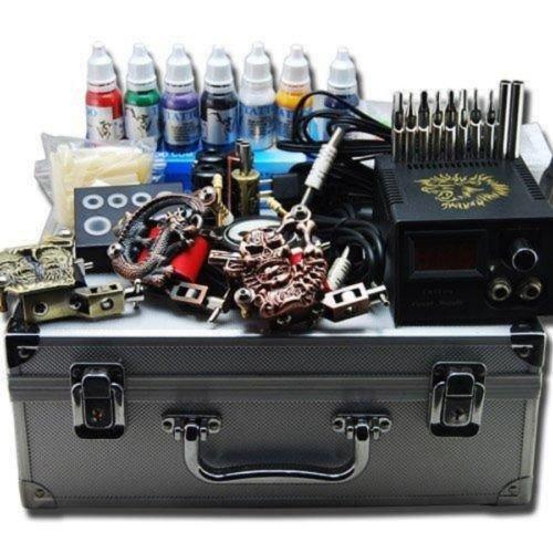 prit2016 Profi Komplett Set 3 Rotary TattooMaschine Gun Koffer Nadeln 7 Ink Netzgerät Tip