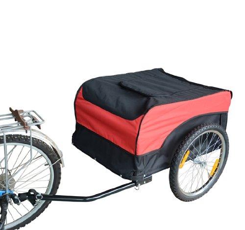 Homcom 120401-002 Transportanhänger Lastenanhänger Fahrrad Anhänge Lasten-Fahrradanhänger CargoTrailer, Rot-Schwarz, L130xB75xH86cm