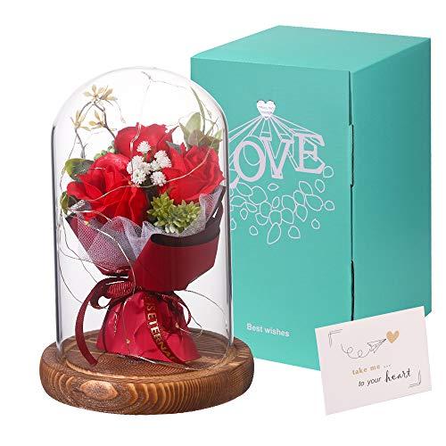 Rose Geschenk für Frauen Ewige Rose im glas Konservierte Rose mit Licht und Geschenkbox für Frau Freundin Oma Freundin zum Geburtstag, Jahrestag, Weihnachten, Valentinstag