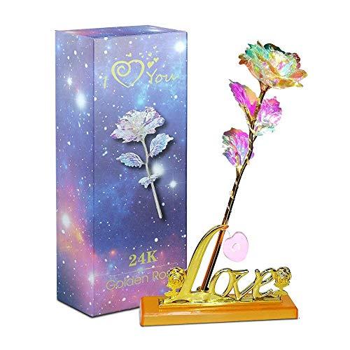 Aokebeey Rose Konservierte 24K Galaxy Blumen mit Licht und Präsentationsständer Kreative Geschenk für Hochzeit, Muttertag, Geburtstag