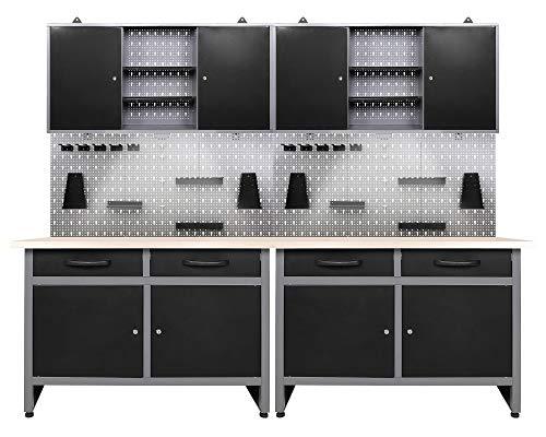 Ondis24 Werkstatteinrichtung 6-teilig Werkbank Werkzeugschrank Werkzeugwand/Lochwand mit Haken + 2X LED Lampe