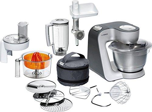 Bosch MUM56340 Styline Küchenmaschine (900 W, vielseitig einsetzbar, große Edelstahl-Schüssel (3,9l), Durchlaufschnitzler, Mixer, Zitruspresse, Fleischwolf) silber/anthrazit