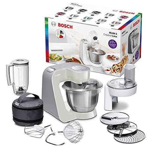 Bosch MUM5 MUM58L20 CreationLine Küchenmaschine (1000 W, 3 Rührwerkzeuge Edelstahl, spülmaschinenfest, Rührschüssel 3,9 Liter, max Teigmenge 2,7kg, Durchlaufschnitzler 3 Scheiben, Mixaufsatz) grau