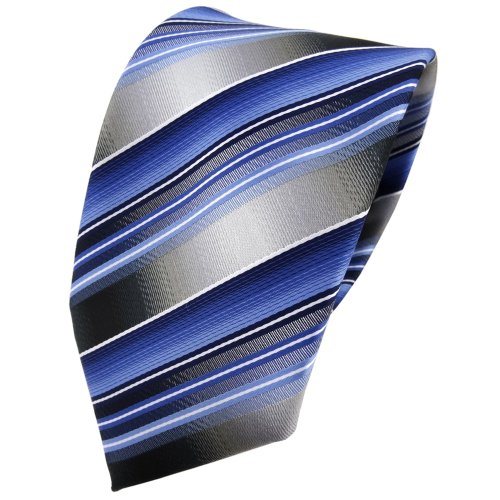 TigerTie Krawatte blau hellblau silber anthrazit grau gestreift - Tie Binder