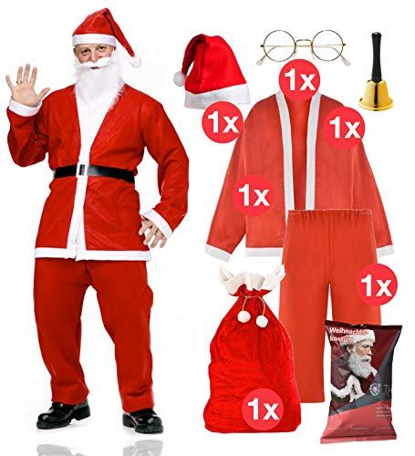 TK Gruppe Timo Klingler 6 in 1 Nikolauskostüm - Weihnachtsmannkostüm Verkleidung für Weihnachten - Kostüm für Nikolaus - Weihnachtsmann - Santa Claus - Herren / Erwachsene