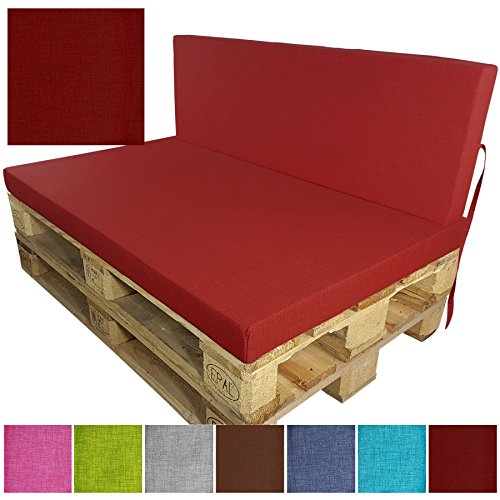 PROHEIM Komplett-Set Outdoor Palettenkissen 2-teilig Set Sitzkissen + Rückenkissen Paletten-Sofa Indoor/Outdoor schmutzabweisende und Wasserabweisende Palettenauflage mit Fleckenschutz, Farbe:Rot